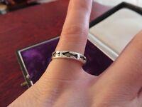 Großer 925 Silber Ring Modern Fisch Hai Meer Ozean Klein Vintage Retro Bandring