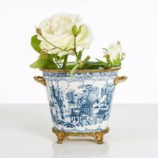 Blue and White Chinese Wine Bucket Fruit Bowl Tray Porcelain Brass Base Pot