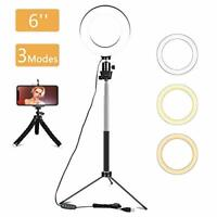 LED Ring Light with Tripod Stand & Phone Holder, 6 inch Dimmable Selfie Ring