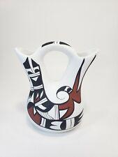 Vintage Mexico Northwest Style Haida Dual Flower Wedding Vase Signed R. Salvax