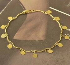 Heart Charms Womens Bracelet,20cm,9k Yellow Gold Filled F5166