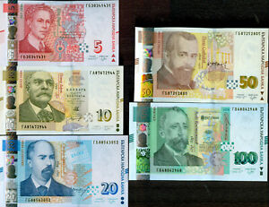 BULGARIA - 5 - 10 - 20 Leva NEW issue 2020 and 50 - 2019 and 100 - 2018 - UNC