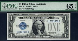 $1 1928 A SILVER CERTIFICATE PMG GEM UNCIRCULATED EPQ GREAT COLOR AND MARGINS