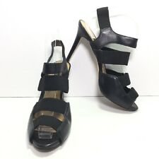 ANN TAYLOR Women's Black Leather Strappy High Heel Stiletto Sandals Size 9 M