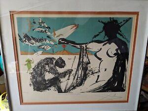 Vintage RARE Salvador Dali SIGNED Lithograph Vietnam Liberation 86/100