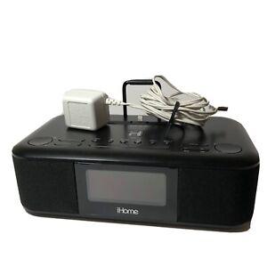 iHome iDL95 Lightning Dock Clock Radio USB Charge/Play for iPad/ iPhone Tested