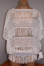 NWT Trina Turk Swimsuit Bikini Cover Up Tunic Blouse Size L WHT Crochet