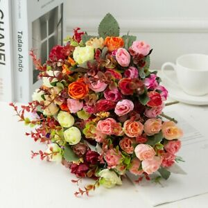 21 Heads Artificial Silk Fake Flowers Bunch Wedding Party Home Floral Decoration
