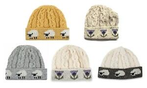 Knitted 100% British Wool Beanie Hat  - Sheep or Thistle Design - UK made
