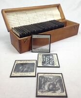 Antique Magic Lantern Glass Slide Set Of 40 The Life Of St Paul In Wooden Box