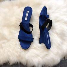 $695 New Manolo Blahnik Blue Suede Slide Wedge Heel Sandals 39 39.5