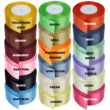 Double Sided Faced Satin Ribbon 10,23,25,40mm x 25 Metres