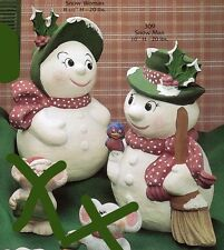 *Set of 2 Ceramic Bisque Gare/Jodi Snowmen and Snow Woman Ready to Paint*