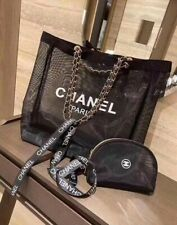 Amazing real Vipchanel. large beach bag c tote with small mesh case VIP BN