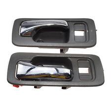 Gray Inside Door Handle Front Pair for 90-93 Honda Accord 4 Door w/  Lock Hole