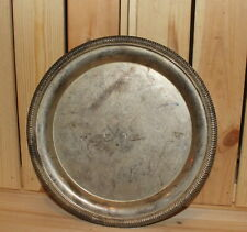Vintage ornate engraved silver plated platter tray