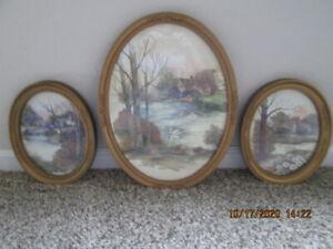 3 Piece Set of Vintage Homco Ornate Oval Gold Framed Pictures~Cottage Pond Swans