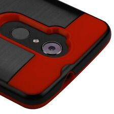 FOR ZTE Max XL N9560 Phone RED BLACK Brushed Hybrid Cover Case +SCREEN