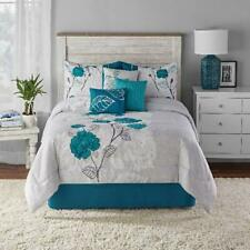 Teal Roses Print and Applique 7-Piece Comforter Set Full Queen King Machine Wash