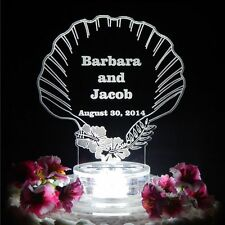 Seashell Lighted Beach Wedding Cake Topper Acrylic Top Personalized Custom