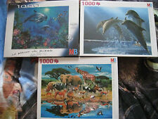 LOT 3 puzzles dauphins mer tigres girafe animaux 1000 MB - NEUF sous blister