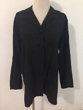 EILEEN FISHER 100% Silk Long Tunic Blazer Jacket Black Size M