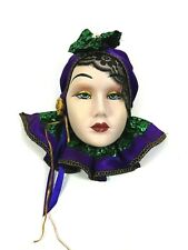 Ceramic Porcelain Face Mask  Wall Hanging Decor Gypsy Lace Headdress 9 inch