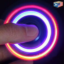 FIDGET SPINNER Black LED Light Up HAND FINGER TOY STRESS ANXIETY ADD ADHD AUTISM