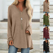 Women V Neck Causal Long Sleeve Tunic Top T Shirts Blouse Plus Size Pullover Tee