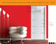 Porte interne Laminato Bianche con INSERTI alluminio argento  70 x 210 - 77x213