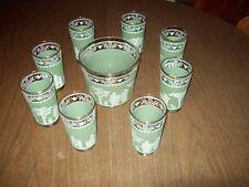 Greek Theme Bar Set ~ Ice Bucket & Glasses ~ Jeannette Hellenic Green Jasperware