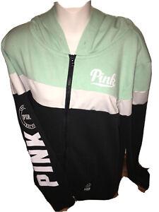 Victorias Secret PINK sweat Jacket full Zipper Hoodie Black/white LOGO JR Large