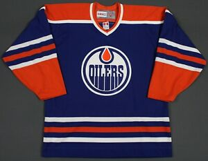 Edmonton Oilers CCM Vintage NHL Hockey Jersey Large Blue/Orange