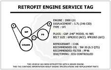 2000 LS1 5.7L Corvette Retrofit Engine Service Tag Belt Routing Diagram Decal