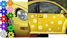 car EYELASHES & 40 White FLOWER head light auto ANY COLOR vw beetle bug fiat USA