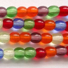 100 Czech Druk Round beads 4mm - Rainbow  - ZB008