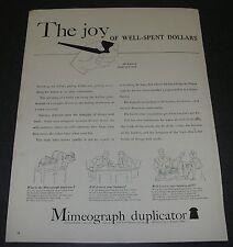 Magazine Print Ad 1940 Mimeograph Duplicator The joy of well-spent dollars.