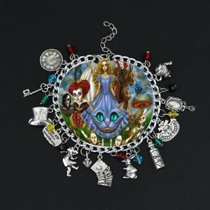 Unisex Charm Bracelet Wristband - Alice In Wonderland - Mad Hatter Cheshire Cat