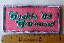 "Vintage Girl Scout 1989 COOKIE SALE PATCH ""Carousel"" Pink Purple Selling Award"