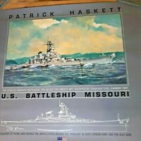 "Poster Print U.S. Navy Battleship Missouri Patrick Haskett ""Mighty Mo"" Ship USA"