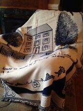 Saltbox House Primitive Home Made of Love Navy Cotton Woven Throw Blanket NEW