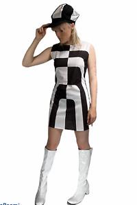 Ladies Mod Girl Costume 60s 70s Go Go Womens Swinging Sixties Fancy Dress