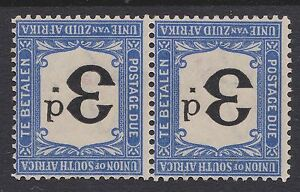 South Africa 1914 3d black & bright blue due MINT PAIR INVERTED wmk sgD4w