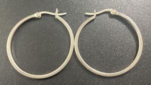 """Sterling Silver Hoop Earrings 1.25"""" Huggie Pierced Fine"""