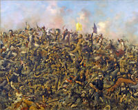 Custers Last Stand Battle Little Big Horn Oil Painting Art Print On Real Canvas