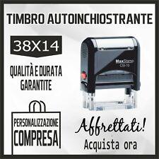 TIMBRO MACCHINETTA AUTOINCHIOSTRANTE + GOMMINA RESINA - 38x14 - PERSONALIZZATO