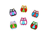 50 x Pretty Wooden Owl Buttons - Crafts, Embellishments, Card Toppers