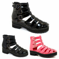 NEW WOMENS GIRLS GLADIATOR CUT OUT SANDALS PUNK PLATFORM CHUNKY BLOCK HEEL SIZES