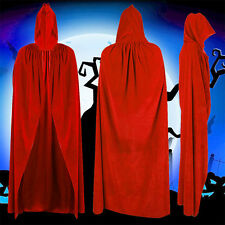 Halloween Witch Cloak Adult Hooded Cosplay Wedding Costume Robe Party Red Velvet