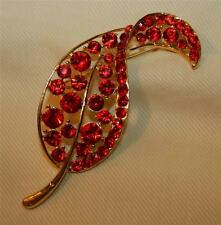 Sparkling Openwork Lacy Goldtone Ruby Red Leaf Rhinestones Brooch Pin